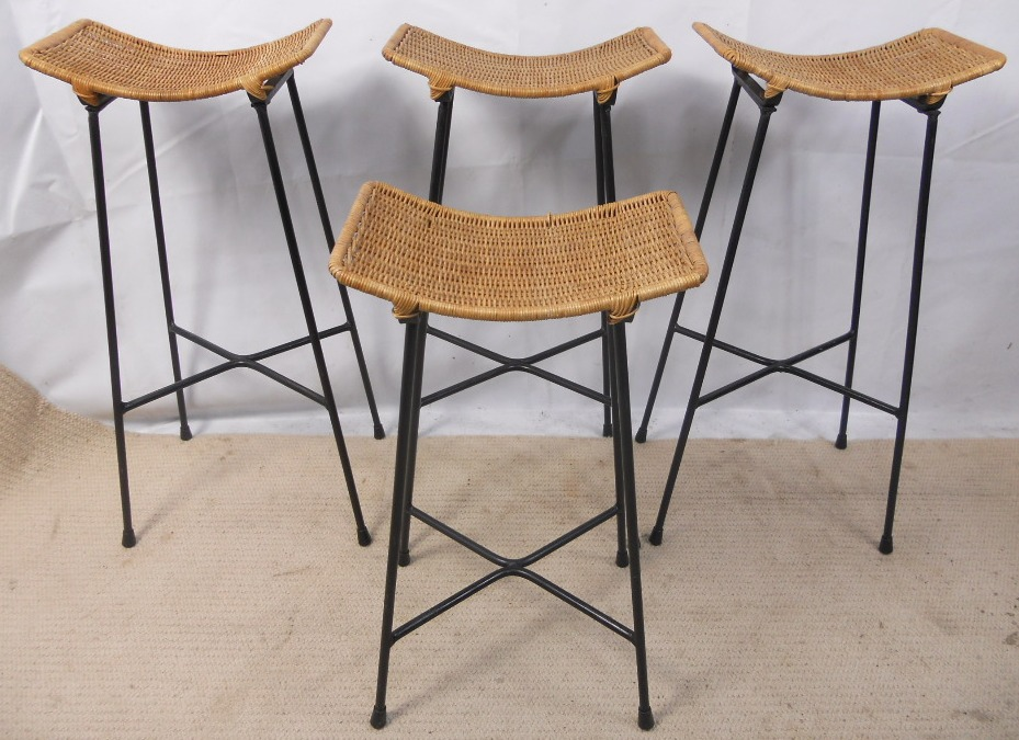 Four 1960 S Bar Stools With Cane Seats And Metal Frames Sold